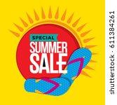 summer sale banner design... | Shutterstock .eps vector #611384261