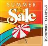 summer sale banner design... | Shutterstock .eps vector #611384309