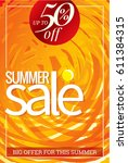 summer sale banner design... | Shutterstock .eps vector #611384315
