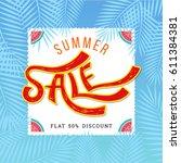 summer sale banner design... | Shutterstock .eps vector #611384381