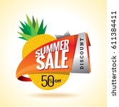 summer sale banner design... | Shutterstock .eps vector #611384411