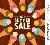 summer sale banner design... | Shutterstock .eps vector #611384729