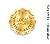 seal award gold icon. blank... | Shutterstock .eps vector #611385149
