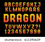 pixel red font video computer... | Shutterstock .eps vector #611390639