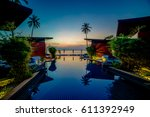 tropical resort with the... | Shutterstock . vector #611392949