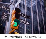 nyc wall street yellow traffic... | Shutterstock . vector #611394239