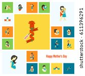 happy mothers day simple flat... | Shutterstock .eps vector #611396291