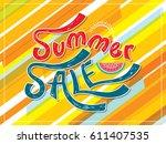 summer sale banner design... | Shutterstock .eps vector #611407535