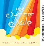 summer sale banner design... | Shutterstock .eps vector #611409869
