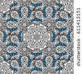 seamless damask classic white... | Shutterstock .eps vector #611413151