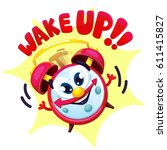 comical red alarm clock. vector ... | Shutterstock .eps vector #611415827