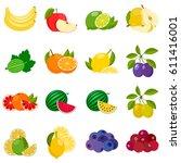 set of vector fruit and berries ... | Shutterstock .eps vector #611416001