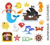 vector flat style set of sea... | Shutterstock .eps vector #611416481