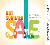 summer sale banner design... | Shutterstock .eps vector #611420315