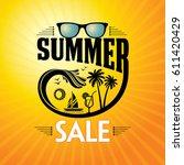 summer sale banner design... | Shutterstock .eps vector #611420429
