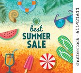 summer sale banner design... | Shutterstock .eps vector #611421611