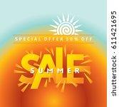 summer sale banner design... | Shutterstock .eps vector #611421695