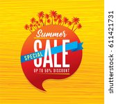 summer sale banner design... | Shutterstock .eps vector #611421731