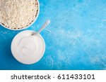 dairy products on blue... | Shutterstock . vector #611433101