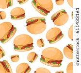 hamburger seamless pattern   Shutterstock .eps vector #611433161