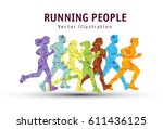 people run sport marathon color ... | Shutterstock .eps vector #611436125