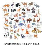 Stock vector animal full length portraits collection on white vector poster of domestic and wild animals from 611445515
