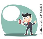 businessman with megaphone and... | Shutterstock .eps vector #611449871