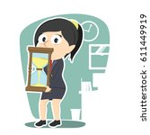 businesswoman is holding... | Shutterstock .eps vector #611449919