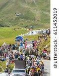 Small photo of COL DU GLANDON, FRANCE - JUL 23: Carrefour caravan during the passing of the Publicity Caravan on the road to Col du Glandon in Alps during the stage 18 of Le Tour de France 2015.