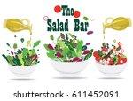 salad set  salad bar | Shutterstock .eps vector #611452091