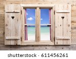wooden window with beach... | Shutterstock . vector #611456261