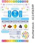 ascorbic acid vitamin c rich... | Shutterstock .eps vector #611456549