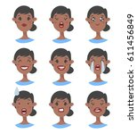 set of emotional character.... | Shutterstock .eps vector #611456849