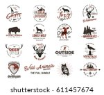 wild animal badges set and... | Shutterstock .eps vector #611457674