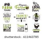 farmers market  organic food ... | Shutterstock .eps vector #611463785