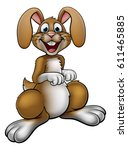 a rabbit or easter bunny... | Shutterstock .eps vector #611465885