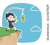 businesswoman is chasing money... | Shutterstock .eps vector #611467829