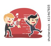 businessman yelling with... | Shutterstock .eps vector #611467835