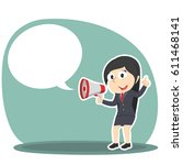 businesswoman with megaphone... | Shutterstock .eps vector #611468141