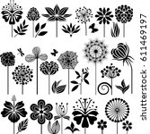 flower bed collection   Shutterstock .eps vector #611469197
