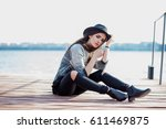 young and beautifull brunette... | Shutterstock . vector #611469875