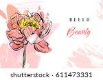 hand made vector spring... | Shutterstock .eps vector #611473331