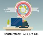project manager working at... | Shutterstock .eps vector #611475131