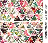 watercolor tropical pattern in... | Shutterstock . vector #611484659