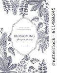 floral card design. vector... | Shutterstock .eps vector #611486345