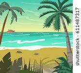 sea landscape summer beach with ... | Shutterstock .eps vector #611487317