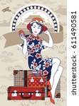 vector of chinese vintage lady... | Shutterstock .eps vector #611490581