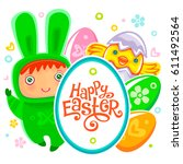 colorful easter greeting card... | Shutterstock .eps vector #611492564