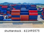 container container ship in...   Shutterstock . vector #611493575