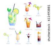 set of alcoholic cocktails... | Shutterstock .eps vector #611493881